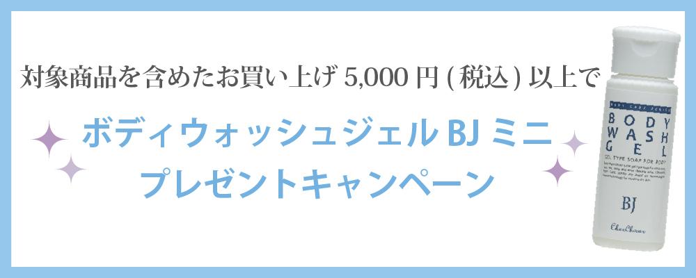 期間限定!対象商品を含むお買い上げ5000円(税込)以上(送料を除く)で、ボディウォッシュジェルBJミニが付いてくる♪